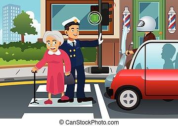 Policeman Helping Grandma Crossing the Street