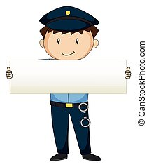 Policeman holding blank paper
