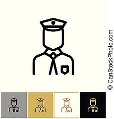Policeman icon, police uniform man sign or security guard person