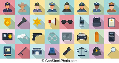 Policeman icons set, flat style