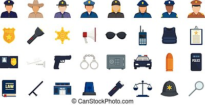Policeman icons set flat vector isolated