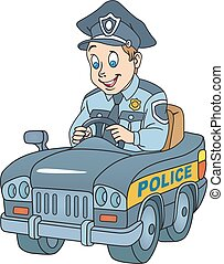 Policeman - Illustration of policeman in the car on white...