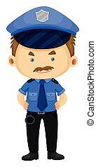 Policeman in blue uniform