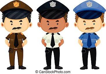 Policeman in three different uniforms