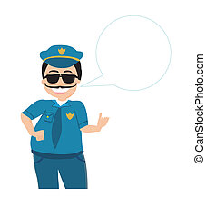 policeman in uniform and goggles vector illustration isolated on white background