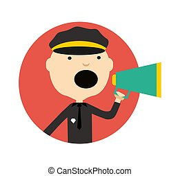 Policeman in uniform with megaphone icon