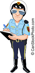 Policeman in uniform writing a ticket