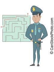 Policeman looking at labyrinth with solution.