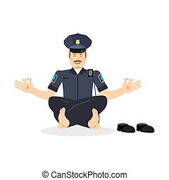 Policeman meditating. Cop yoga. Police officer relaxes....
