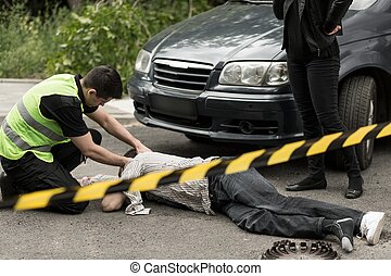 Policeman on the accident scene