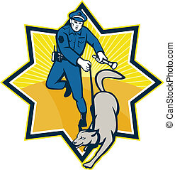 Policeman Police Dog Canine Team