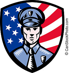 illustration of a Policeman Police Officer facing front with American stars and stripes flag in background set inside shield isolated on white.