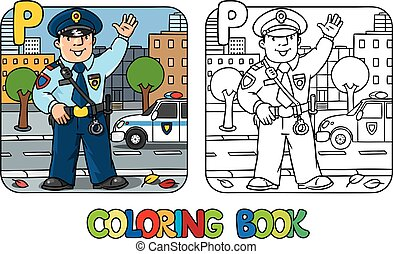 Policeman. Profession ABC coloring book Alphabet P