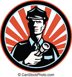 Policeman Security Guard With Flashlight Retro - ...