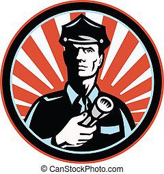Policeman Security Guard With Flashlight Retro -...