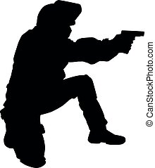 Policeman shooting with pistol vector black silhouette