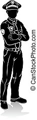 Policeman Silhouette - A silhouette policeman standing with...