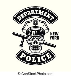 Policeman skull in cap and sunglasses emblem