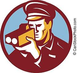Policeman Speed Camera Scanning Circle Retro - Illustration ...