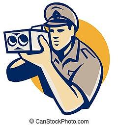 policeman-speed-camera - vector illustration of a policeman ...