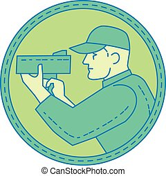Mono line style illustration of a policeman police officer pointing speed radar gun viewed from the side set inside circle on isolated background.