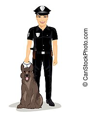 Policeman standing with police dog smiling over white background