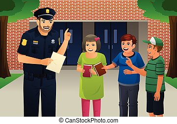 A vector illustration of policeman talking to kids