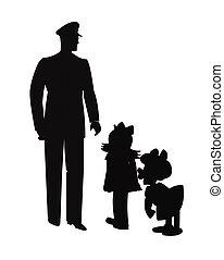 policeman talking to two kids