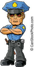 Policeman - Tough confident macho policeman with cool...
