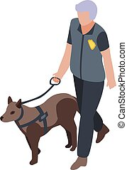 Policeman with dog icon, isometric style