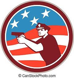 Policeman With Gun American Flag Circle Retro