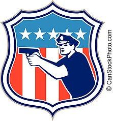 Policeman With Gun American Flag Shield Retro