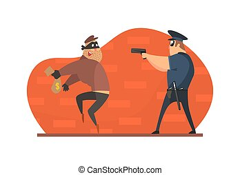 Policeman with Gun Chasing Thief in Mask with Stolen Bag of Money Vector Illustration