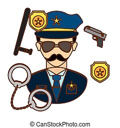 policeman with his tools icon image, vctor illustration