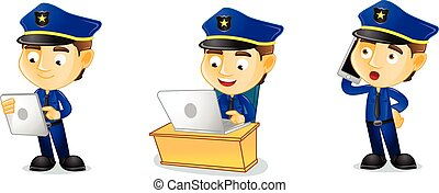 Policeman with laptop mascot