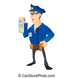 Policeman with order icon, cartoon style