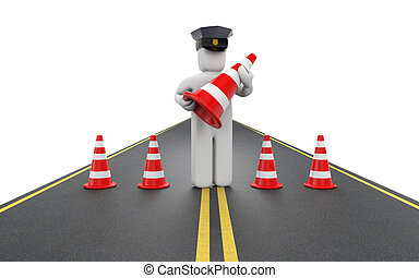 Policeman with traffic cones - People at work metaphor....