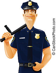 policeman with truncheon vector illustration isolated on...
