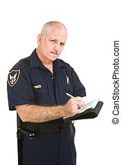 Policeman - Writing Citation - Mature police officer with...