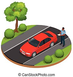 Policeman writing speeding ticket for a driver. Road traffic safety regulations. Police officer giving a ticket for bad parking, not paying tax. Police officer traffic. Isometric flat 3d illustration