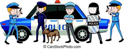 Policemen in different uniform by the car illustration