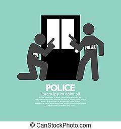 Policemen In Front Of The Door Symbol Vector Illustration