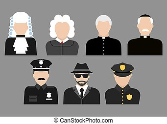 Policemen, judges, priests and detective avatars