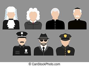 Policemen, judges, priests and detective avatars