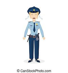 policewoman., aislado, llanto