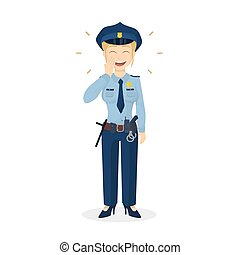 policewoman., aislado, reír