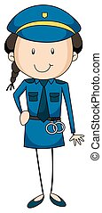 Policewoman - Closeup policewoman in uniform carrying a...