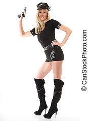 Policewoman cop with gun - Full length blonde female...