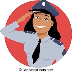 Policewoman - Portrait of a policewoman, saluting, EPS 8...
