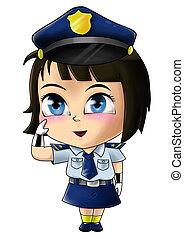 Policewoman - Cute cartoon illustration of a policewoman